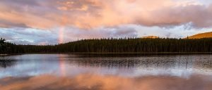Rainbow on lake